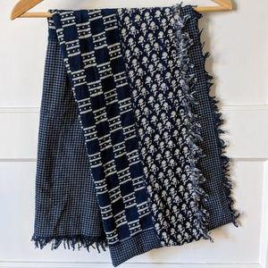 Madewell indigo patch scarf 100% raw silk